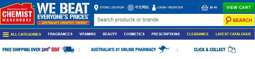 Truy cập trang web chemist ware house để mua hàng