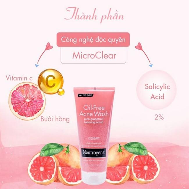 Thành phần Sữa rửa mặt Neutrogena màu hồng