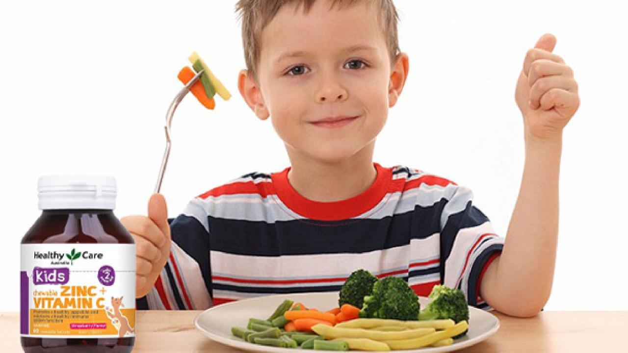 Viên nhai tăng đề kháng Healthy Care Zinc + Vitamin C cho bé