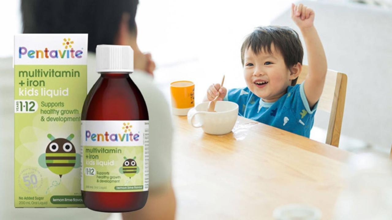 Siro Vitamin tổng hợp và sắt Pentavite dành cho bé từ 1 - 12 tuổi