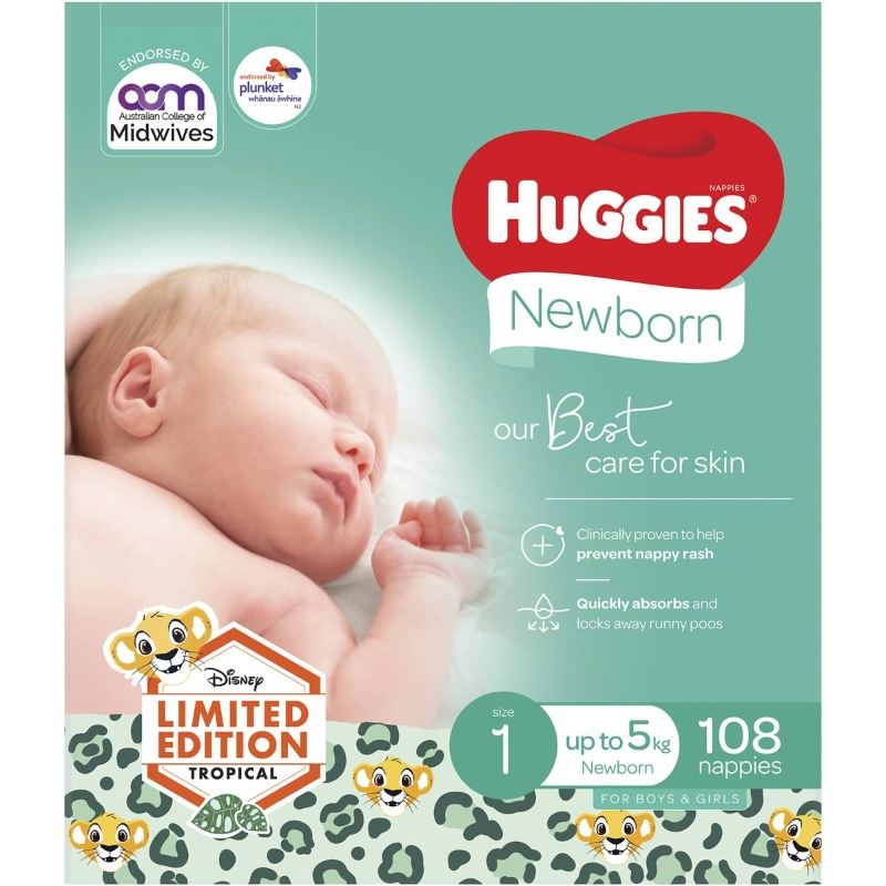 Huggies Nappies Newborn Jumbo 108 pack