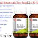 2 x 30 tabs Oriental Botanicals Zinc Excel 60 tablets Healthy vision * FREE POST