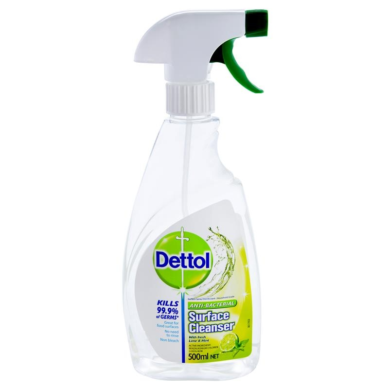 Dettol Surface Cleanser Antibacterial Lime & Mint Trigger 500ml