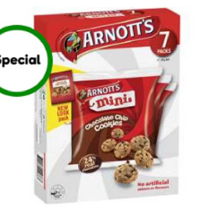 Arnott's Minis Biscuits Choc Chip Cookies 7 Pack 175g