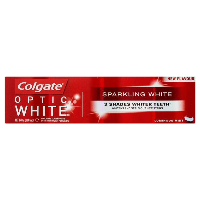 Colgate Optic White Sparkling White Luminous Mint Teeth Whitening Toothpaste with hydrogen peroxide 140g