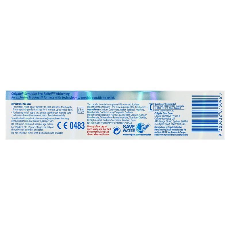 Colgate Sensitive ProRelief Whitening Sensitive Teeth Pain fluoride Toothpaste 110g
