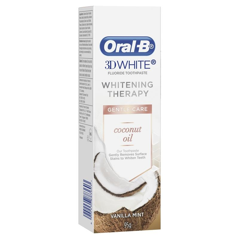 Oral B Toothpaste 3D White Whitening Therapy Gentle Care with Coconut Oil 95g