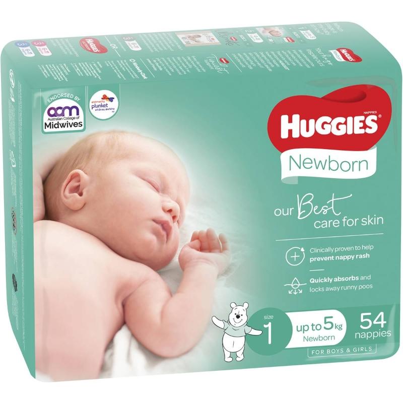 Huggies Newborn Nappies 54 pack
