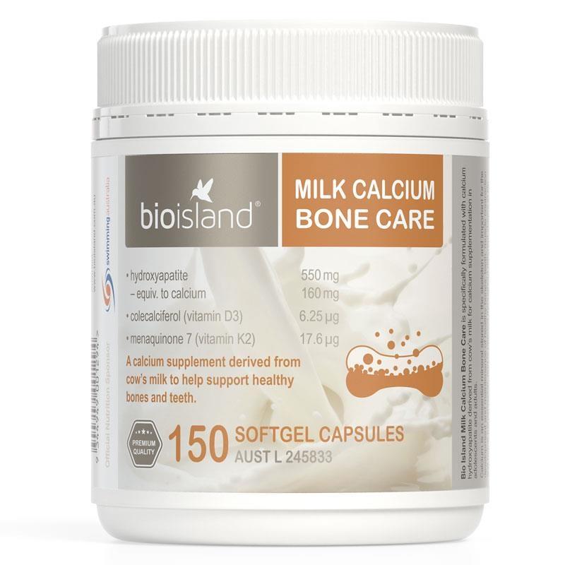 Viên uống bổ sung canxi - Bio Island Milk Calcium Bone Care 150 Softgel Capsules