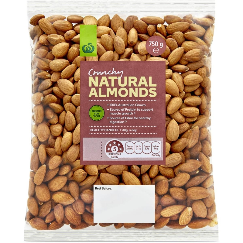 Woolworths Almonds Kernels 750g pack