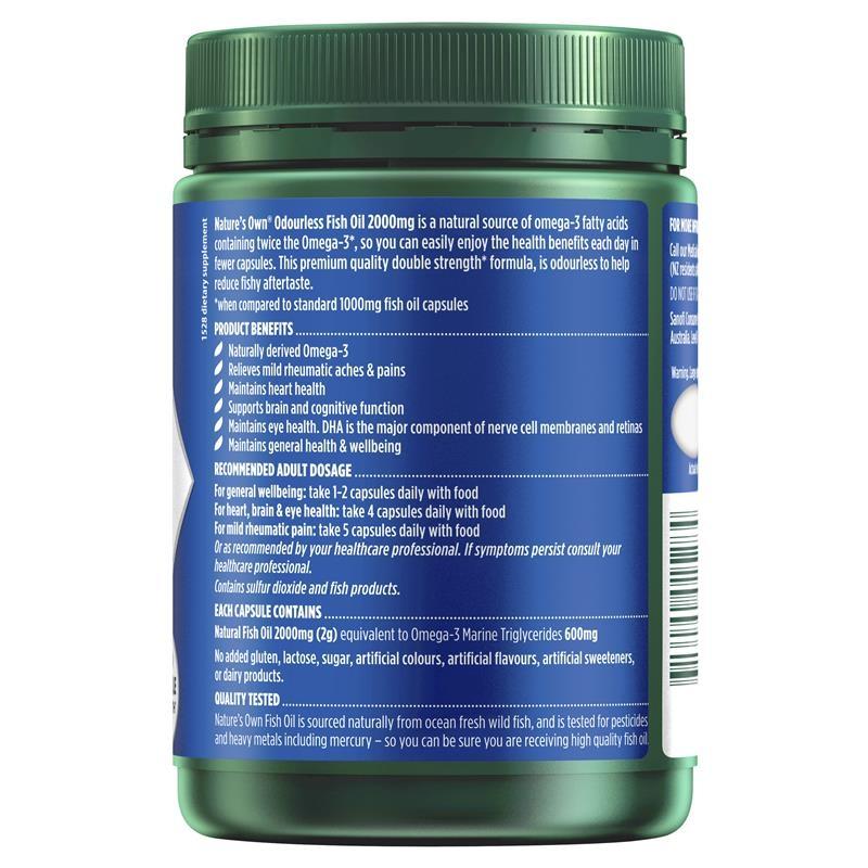 Viên uống dầu cá không mùi - Nature's Own Odourless Fish Oil 2000mg - Source of Omega-3 - 200 Capsules