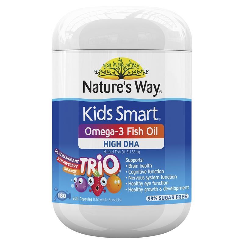 Viên nhai bổ sung Omega-3 - Nature's Way Kids Smart Omega-3 Fish Oil Trio 180 Capsules
