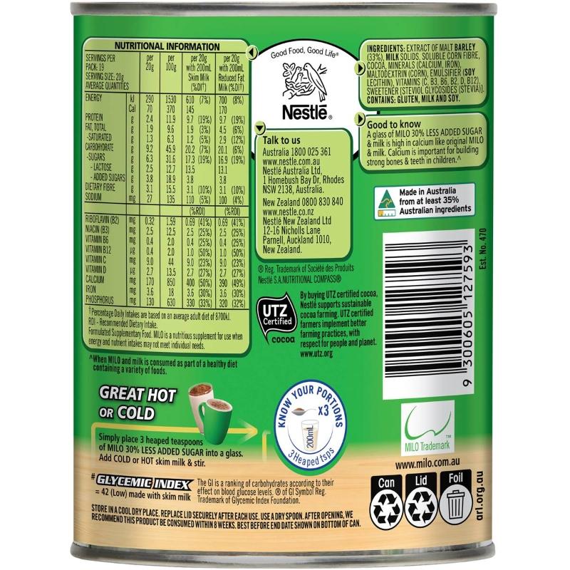 Nestle Milo ít đường hơn 30% 395g