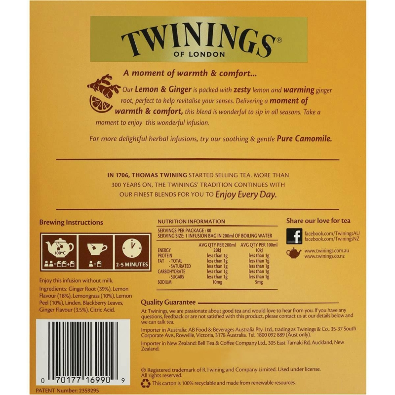 Túi trà Twinings Chanh & Gừng 80 gói