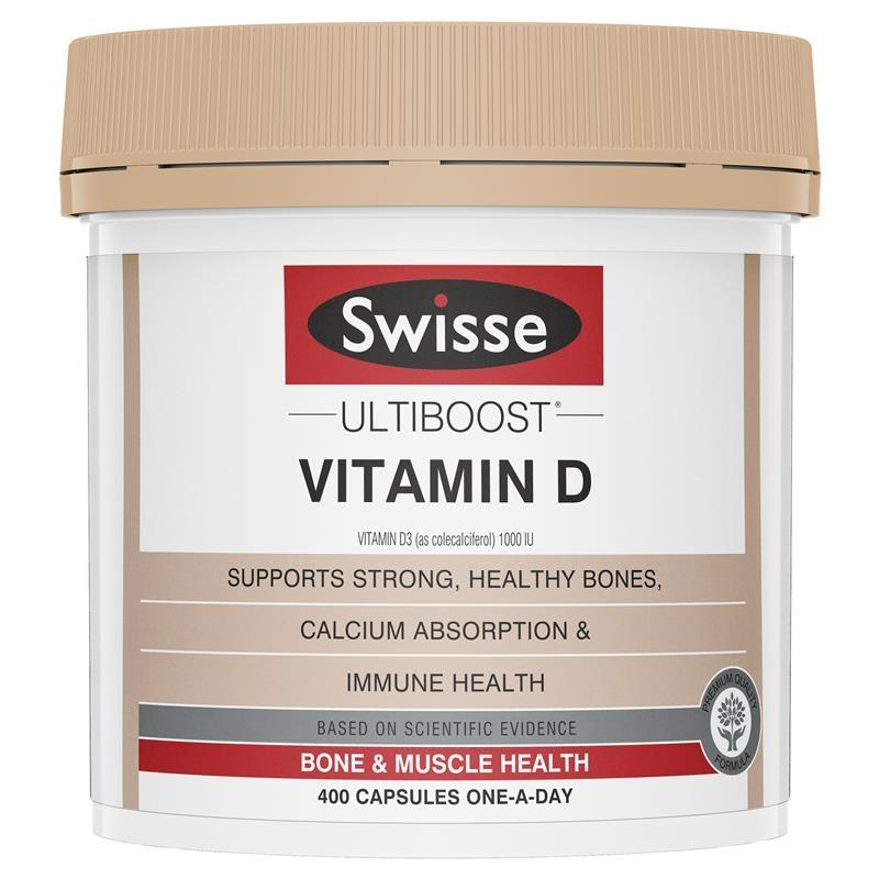 Viên uống  bổ sung vitamin D - Swisse Ultiboost Vitamin D 400 Capsules
