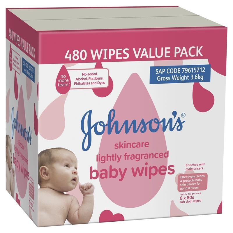 Khăn giấy chăm sóc da Johnson's Baby Wipes Thơm nhẹ 6x80