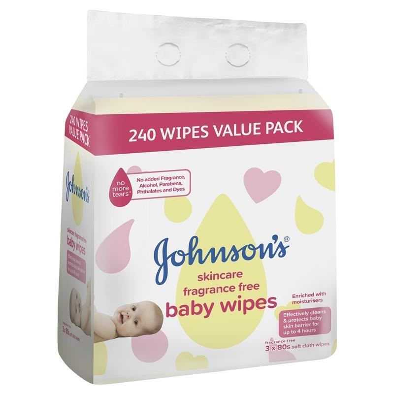 Khăn ướt Johnson's Baby Wipes Skincare Fragrance Free 3x80 Pack