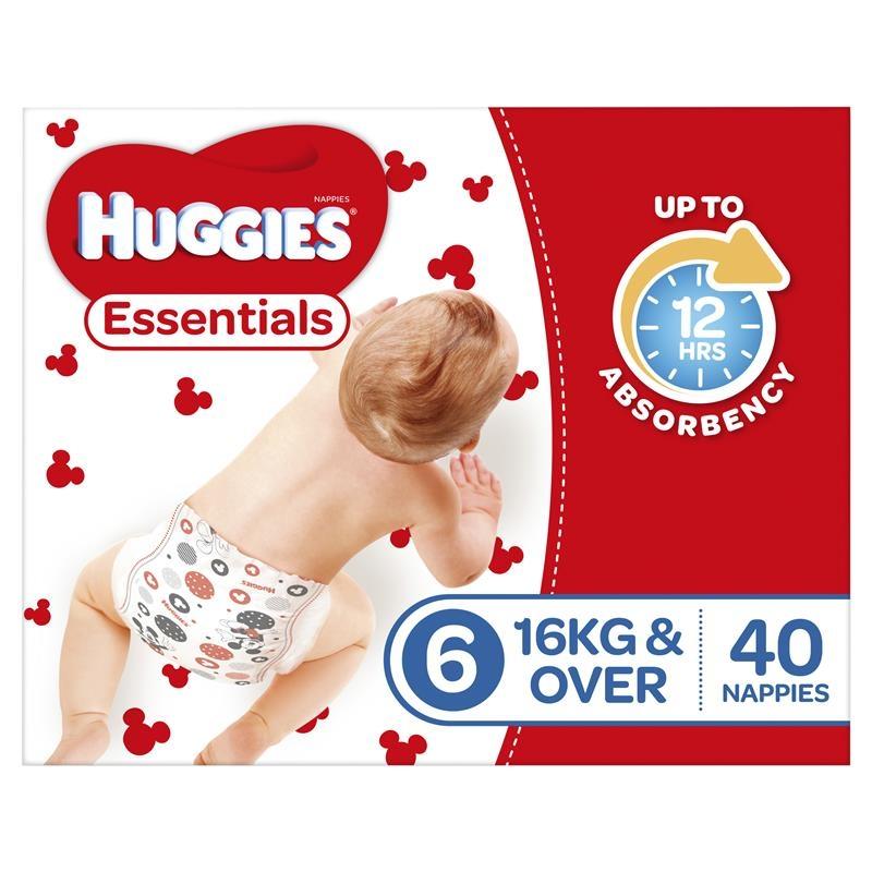Tã lót Huggies Essentials Size 6 16kg & Over 40 Nappies