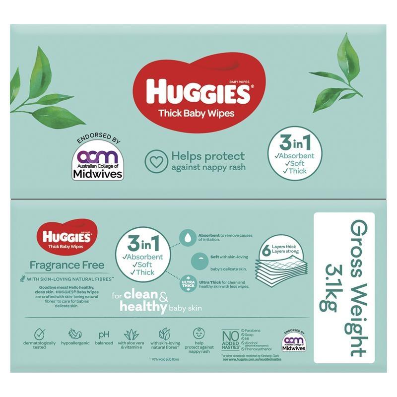 Khăn ướt Huggies Fragrance Free Wipes 400 miếng