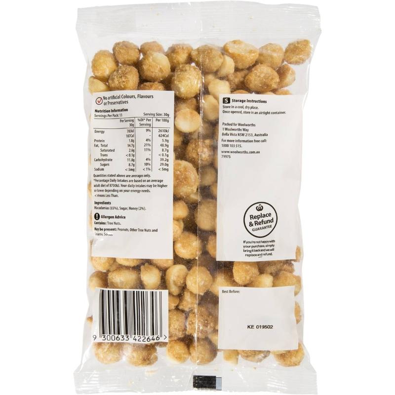 Hạnh nhân sấy mật ong - Woolworths Macadamias Honey 400g pack