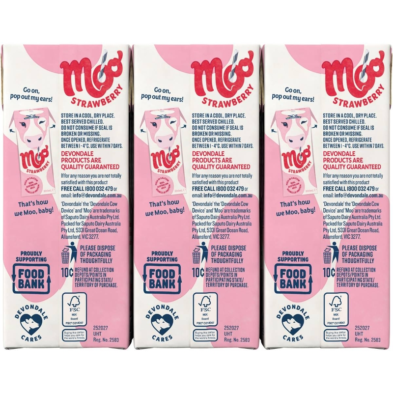 Sữa Devondale Moo Dâu 6x200ml