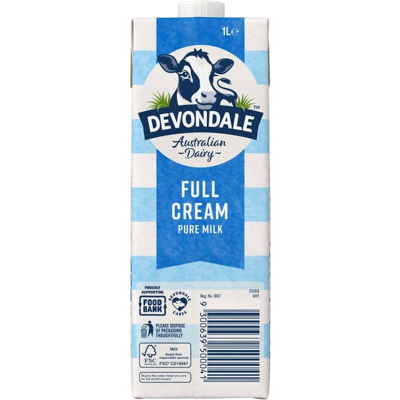 Sữa Devondale 100% nguyên kem nguyên chất Long Life 1l