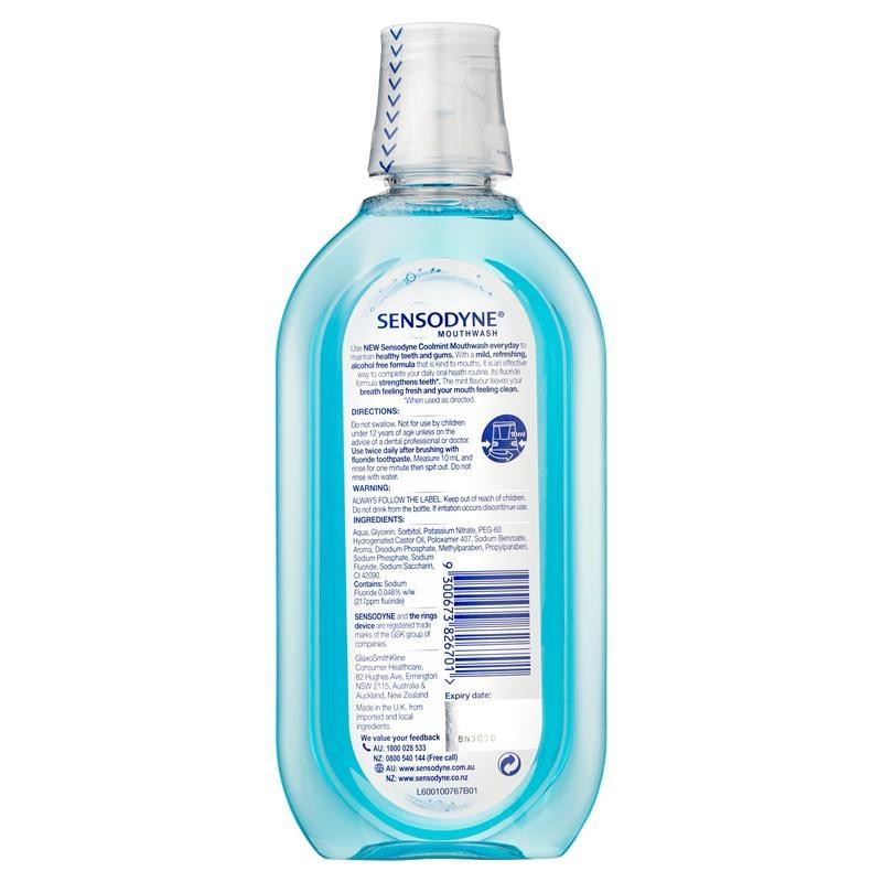 Nước súc miệng Sensodyne Sensitive Cool Mint Gentle Mouthwash 500 mL