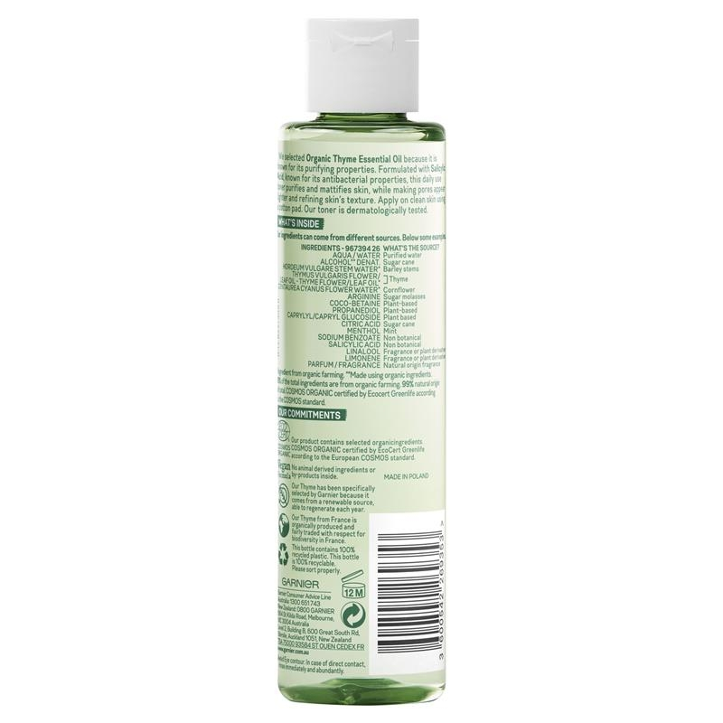 Nước hoa hồng hữu cơ Garnier Organics Purifying Thyme Perfecting Toner 150ml