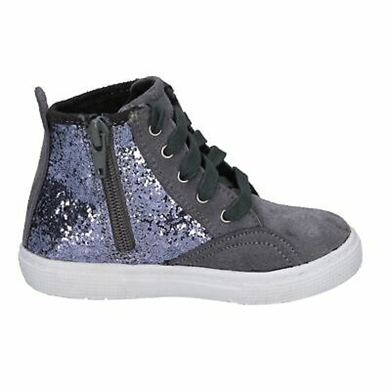 BX839 ENRICO COVERI Shoes Girls Gray Glitter Suede Sneakers No Casual Casual Fl