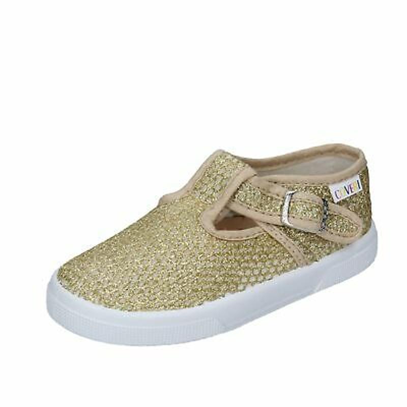 BN686 ENRICO COVERI Shoes Girls Gold Textile Sneakers No Casual Casual Flat (Un