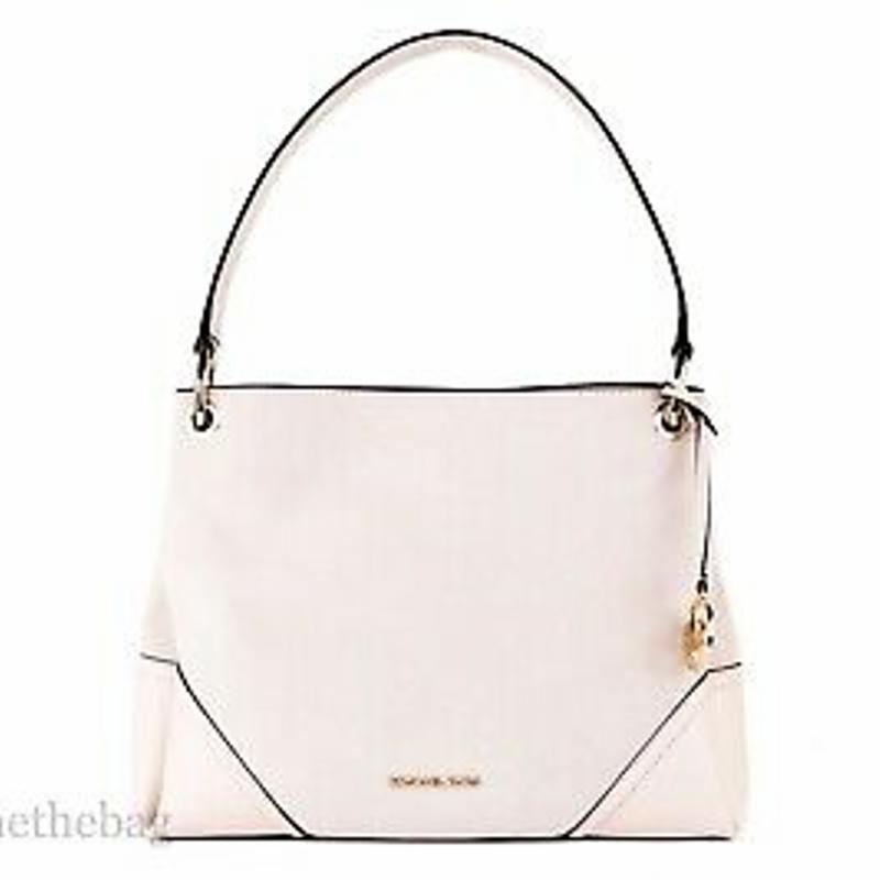 Michael Kors Nicole Medium Leather Hobo Shoulder Tote Handbag Purse Bag