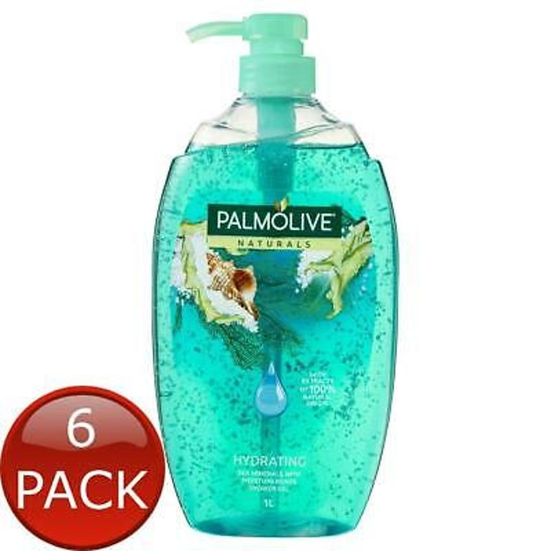 Gel tắm dưỡng ấm 6 x PALMOLIVE NATURALS HYDRATING SOAP FREE BODY WASH SEA MINERALS WITH MOISTU...