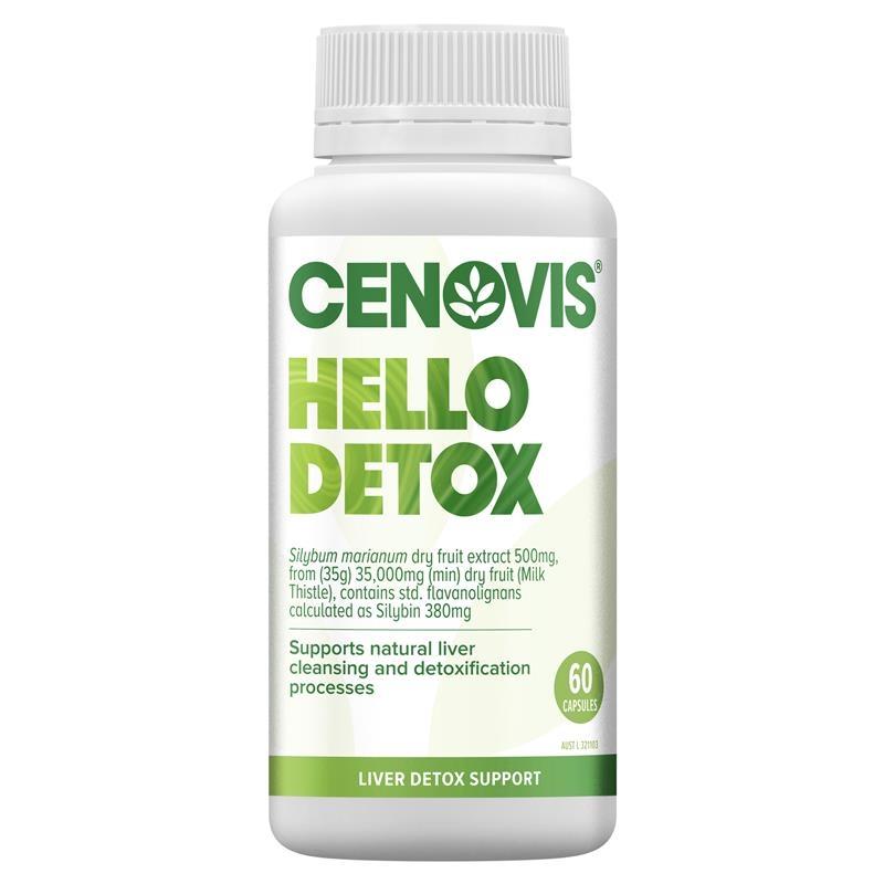 Viên thải độc gan - Cenovis Hello Detox 60 Tablets - Contains Milk Thistle