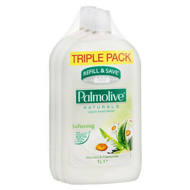 Nước rửa tay 3 x PALMOLIVE NATURALS LIQUID HANDWASH REFILL TRIPLE PACK ALOE VERA CHAMOMILE 1L