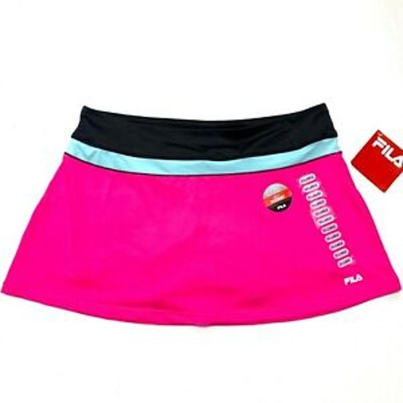 Váy Zip Pocket Sọc Màu Hồng 2XL - New FILA Women's Tennis Skort Shorts Skirt Zip Pocket Striped Hot Pink Sz 2XL