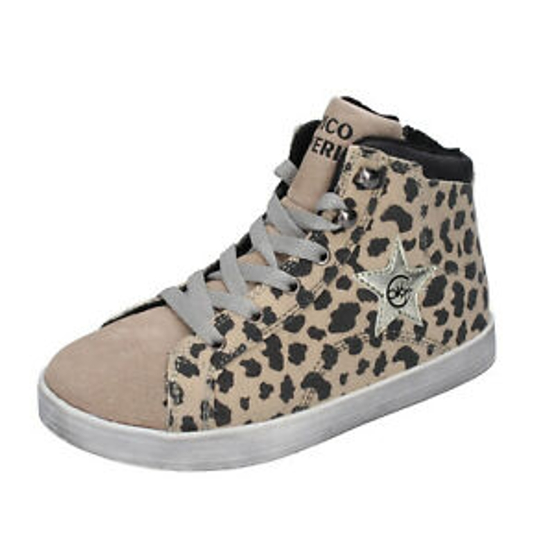 Giày cổ cao bé gái - Girl's Shoes ENRICO COVERI 36 Eu Sneakers Beige Suede Black Fabric BK252-36
