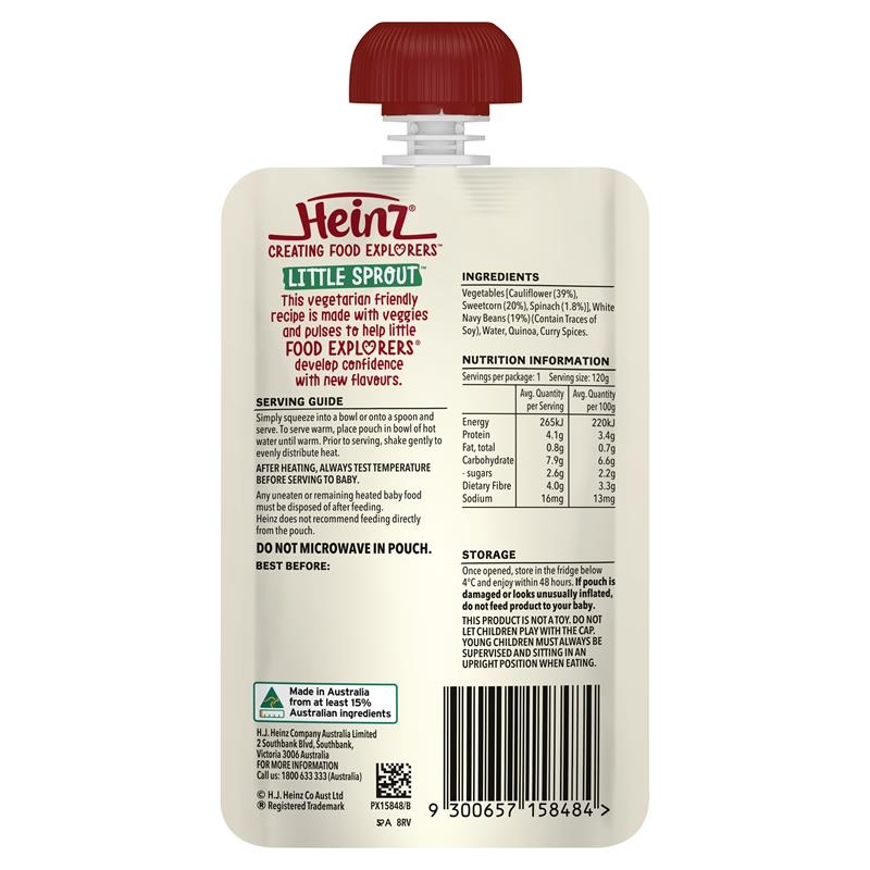 Váng sữa -Heinz Cauliflower Sweet Corn & White Beans Pouch 120g 8m+