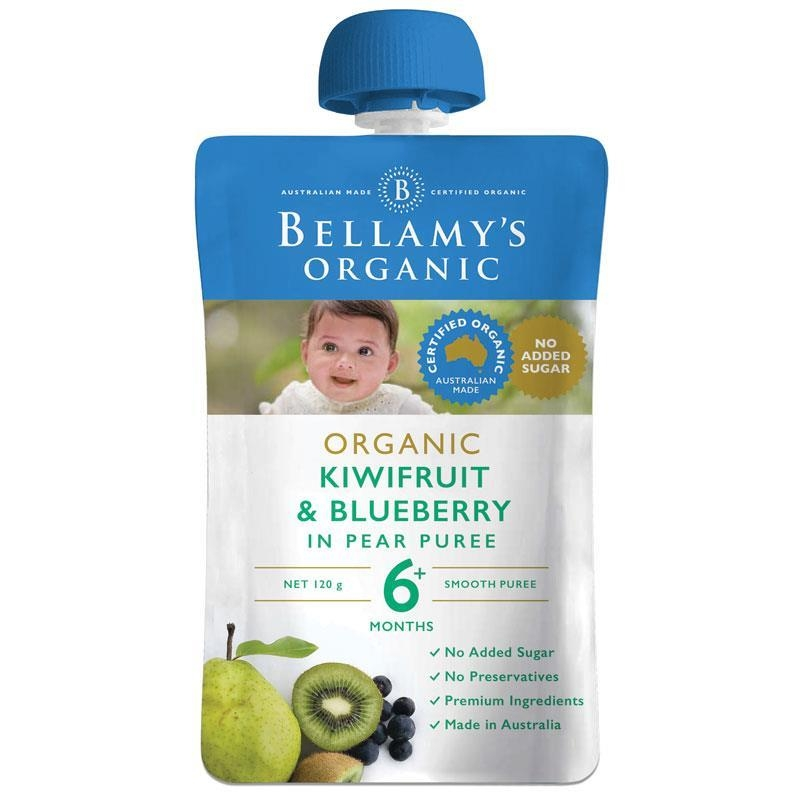Thức ăn dặm Bellamy's Organic Exotic Fruits Kiwifruit & Blueberry In Pear Puree 120g