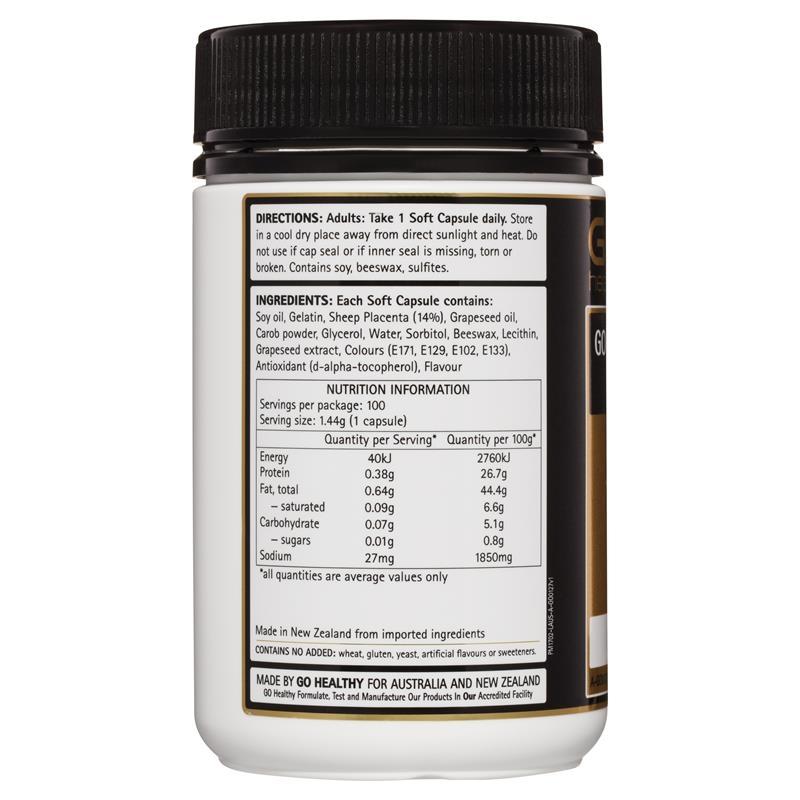 Viên uống đẹp da từ nhau thai cừu Go Healthy Sheep Placenta 20000mg 100 Soft caps