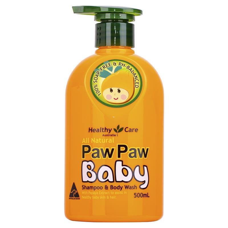 Sữa tắm gội Healthy Care All Natural Paw Paw Baby Shampoo 500ml