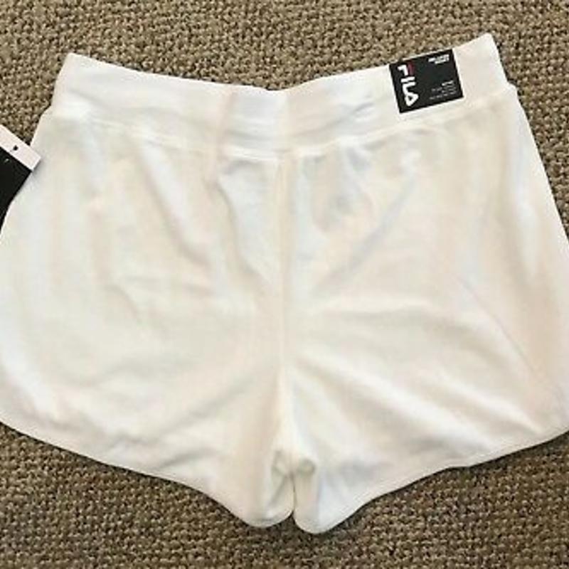 Quần soóc màu trắng Nữ Size XL - FILA Heritage Velour Shorts Cloud Dancer White Women's Size XL Running Athletic