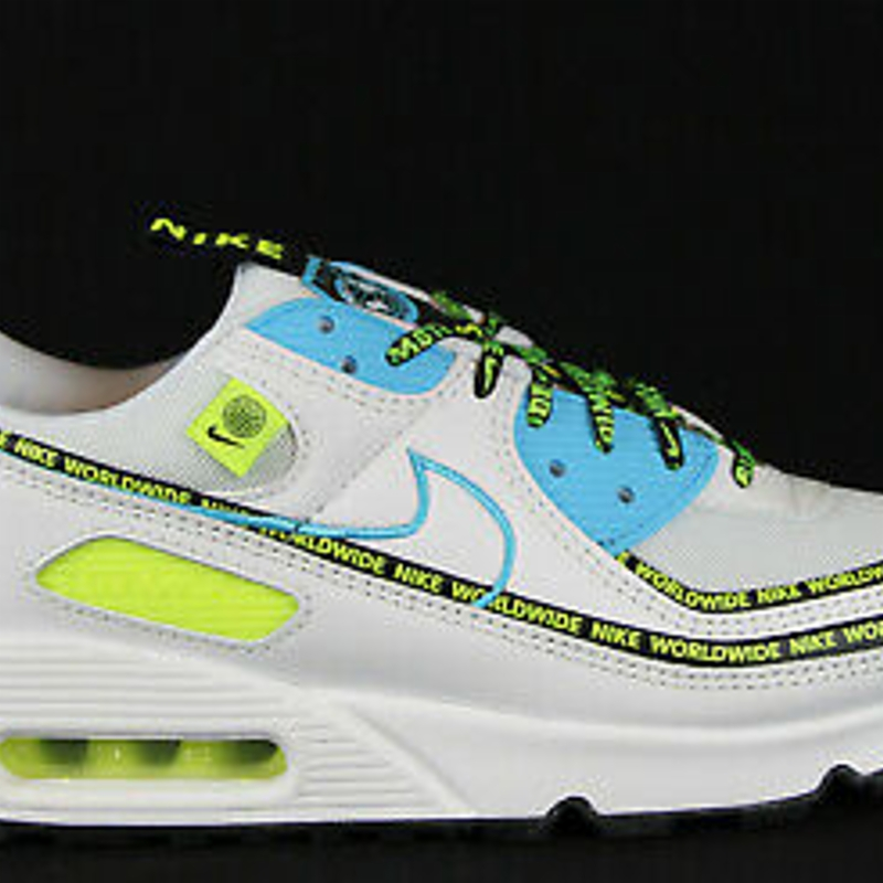 Giày thể thao New Mens Nike Air Max 90 SE in White/Blue Fury-Black-Volt Colour Size US 9