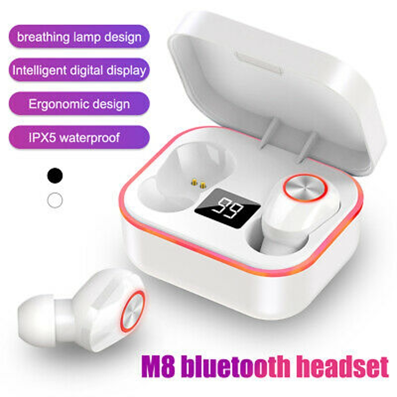 Tai nghe - Bluetooth Wireless Earbuds Breathing LED Display TWS Stereo IPX5 Waterproof