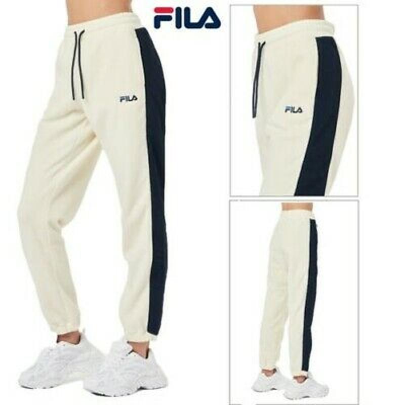 Quần Joggers FILA Womens Thea Polar Fleece Retro Stripe Cuffed Joggers Loungewear Bottoms