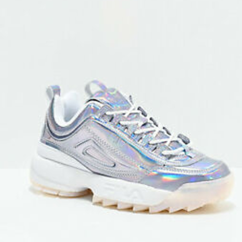 Giày thể thao NEW FILA Disruptor II Iridescent Silver & White Sneakers Womens