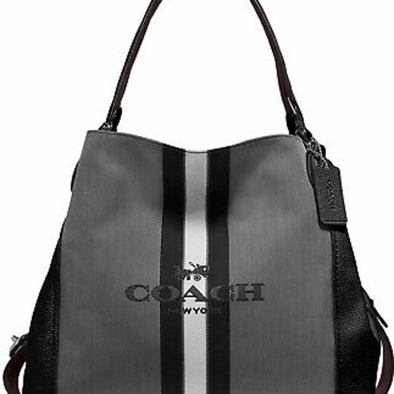 Túi đeo chéo NWT COACH EDIE 31 HORSE AND CARRIAGE JACQUARD AND LEATHER SHOULDER BAG BLACK