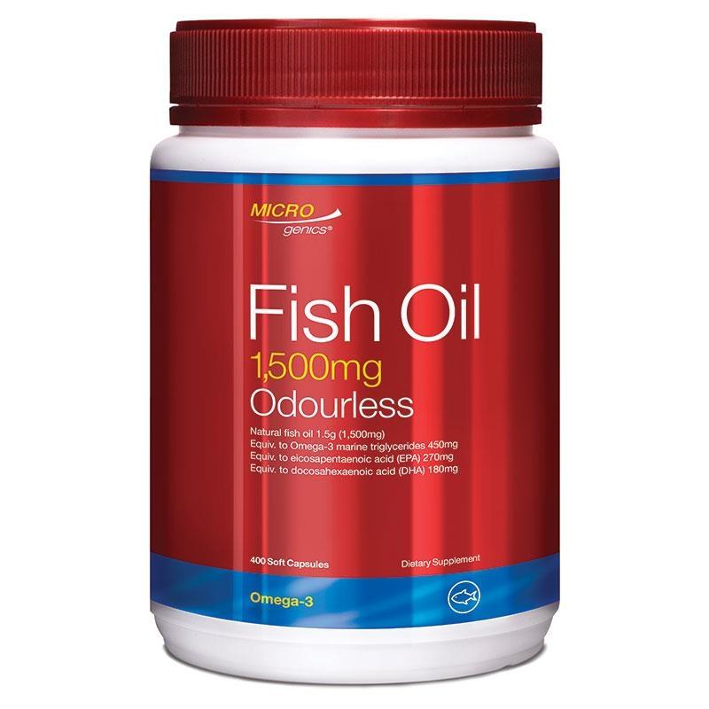 Viên uống dầu cá Microgenics Fish Oil 1500mg Odourless 400 Capsules