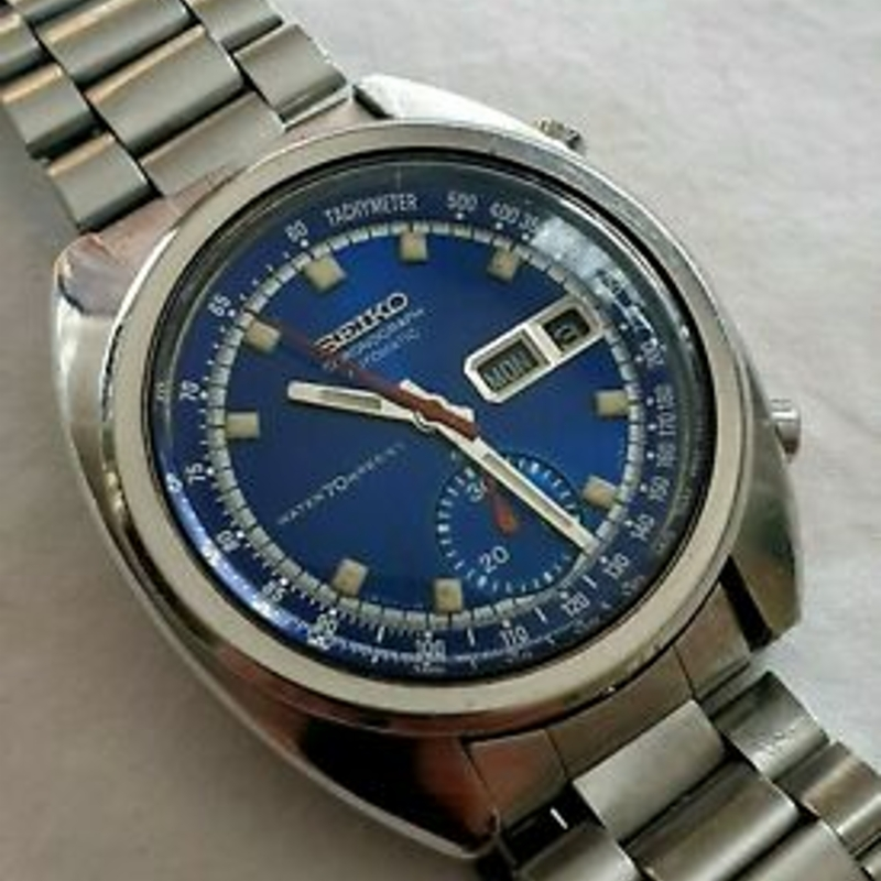 Seiko 6139-6012 1972 Automatic Bruce Lee Deep Blue Chronograph Day Date Watch