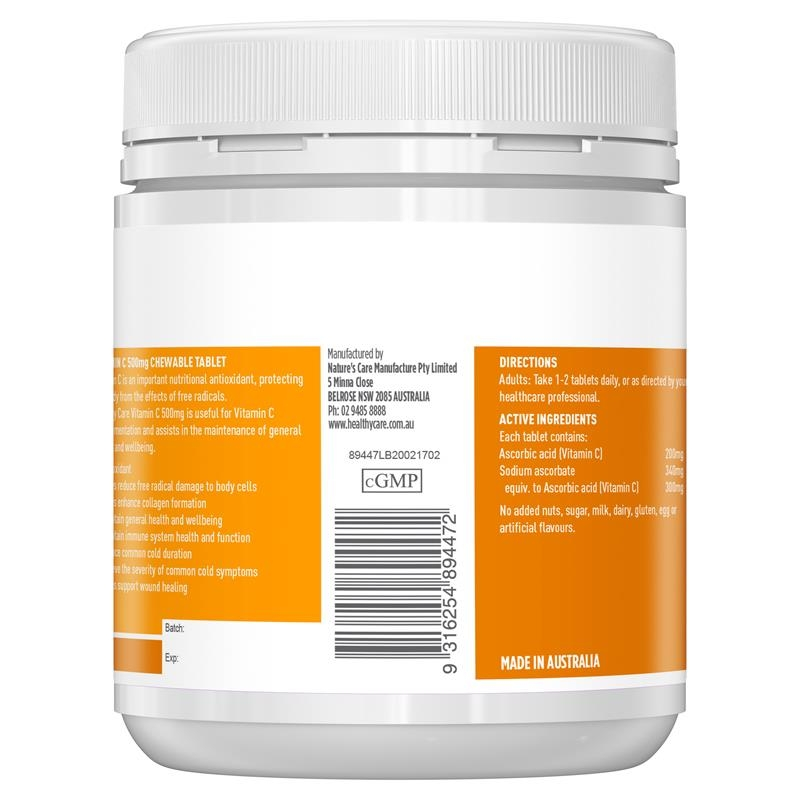 Healthy Care Vitamin C 500mg 300 Chewable Tablets