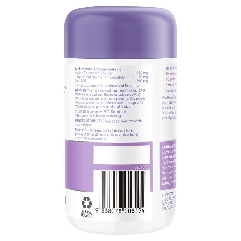 Viên nhai hỗ trợ hệ miễn dịch Vita Bubs Kids Immune Health Goat Milk + Colostrum 60 Chewable Tablets